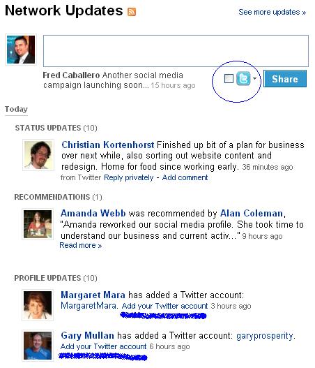 twitter linkedin status updates